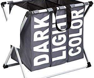 Triple Laundry Basket Hamper, Dark Grey